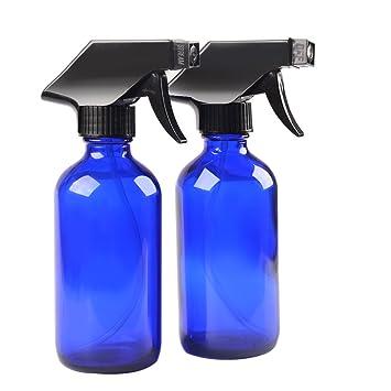 Amazon.com: 2 botellas de cristal azul con pulverizador ...