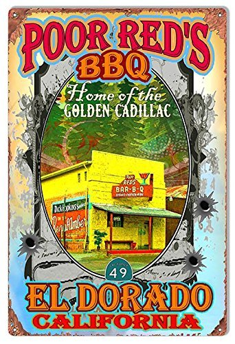 Poor Reds BBQ Eldorado Reproduction Sign Artist Phil Hamilton 12x18by (Eldorado Bar)