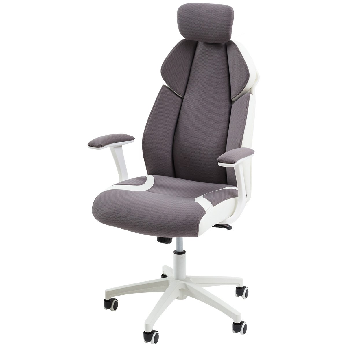 【今までの快適を覆す!包み込む3Dクッションオフィスチェアー】 高品質快適メッシュチェア(マイクロファイバー仕様) 角度をキープするリクライニング機能 ハイバック椅子 肘置きクッション 角度可変ヘッドレスト付き (グレー色)  グレー B01MD0YPG3