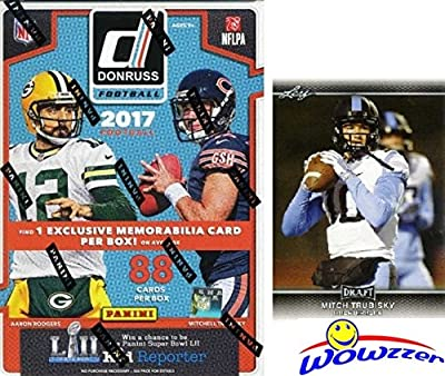 2017 Donruss NFL Football EXCLUSIVE HUGE Factory Sealed Retail Box with SPECIAL ROOKIE MEMORABILIA Card & Rated Rookie Card in EVERY PACK! Plus BONUS 2017 Mitchell Trubisky ROOKIE Card! WOWZZER!