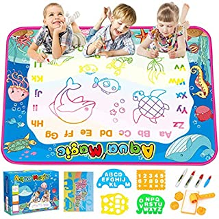 TONBUX Aqua Magic Doodle Mat 40 x 30 Inches Water Drawing Doodling Mat Learning Toys for Toddlers Kids Coloring Mat with Pen Markers for Age 2-5 Years Old Girls Boys Birthday Gifts