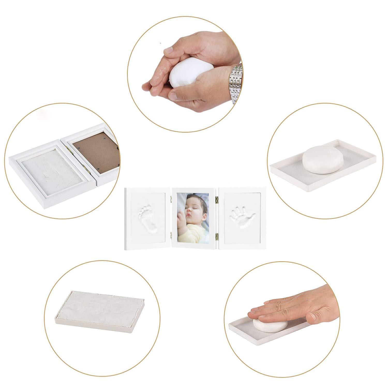 Kit de Marco Para Manos y Huellas 3D de Beb/é Regalo Recuerdo Perfecto para Baby Shower Marco Triple de Madera para Fotos