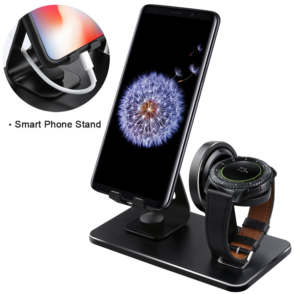 Compatible Samsung Gear S3 Charger Stand, NaHai Charging Dock Samsung Gear S3 Classic Frontier, Smart Watch Cell Phone Cradle (Black) by NAHAI (Image #2)