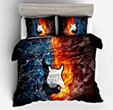 SxinHome 3D Flame Electric Guitar Pattern Bedding Set for Teen Boys Girls,Kids Duvet Cover Set,2pcs 1 Duvet Cover 1 Pillowcase(No Comforter),Twin Size