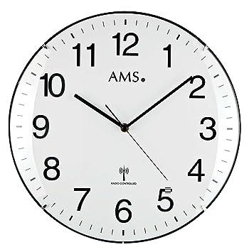 Klassische Wanduhr Funk Ams 5960 Funkuhr Weiß Große Zahlen Küche