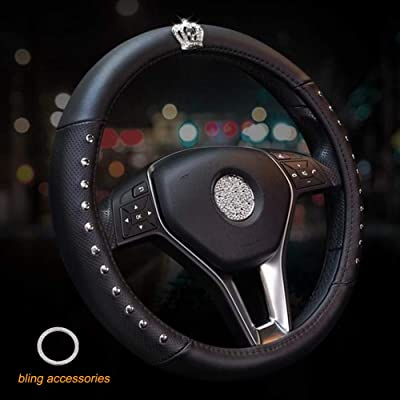 ALVAZA Genuine Leather Car Steering Wheel Cover with Decorative Rivet and Bling Crystal Rhinestone Crown for Vehicles SUV, Breathable, Anti-Slip,Universal 15 Inch (Black): Automotive