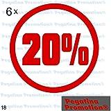 """6er Set Aufkleber Schaufenster """"20%"""" Reduziert Ausverkauf Schlussverkauf Sale WSV SSVca. 20 cm Aufkleber Sticker Schaufensterwerbung Werbung Deko von Pegatina Promotion ®"""