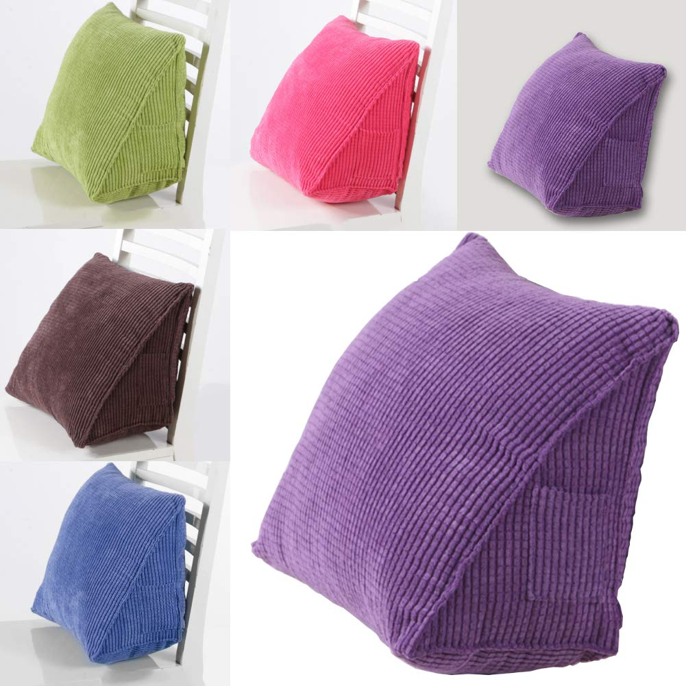 Support Washable Coffee Solid Color Corduroy Ribbed Wedge Cushion Triangle Pillow Home Bed Sofa Decor dezirZJjx Bed Wedge Pillow Triangle Shaped for Reading