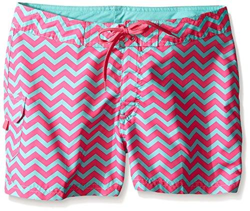 Kanu Surf Little Girls' Sassy UPF 50+ Quick Dry Beach Coverup Boardshort, Alexa Pink Chevron, X-Large (6X)