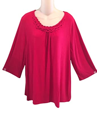 Maggie Barnes Catherines Womens Plus Size Red Top Blouse 0 X 2 X