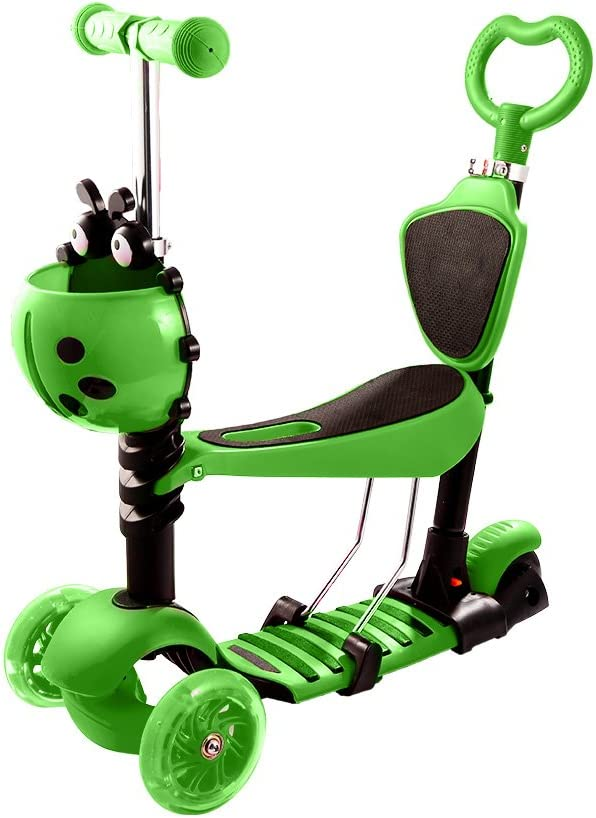 Hikole Kick Scooter for Kids, 5-in-1 Scooters for Toddlers Girsl Boys, Removable Seat Scooter with 3 Flashing Wheels 3 Adjustable Height Back Rest Safe Anti-Slip Deck for Age 3-8