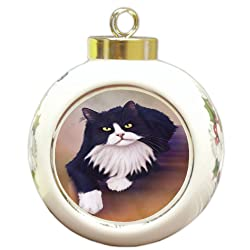 Doggie of the Day Tuxedo Black and White Cat Round Ceramic Ball Christmas Ornament