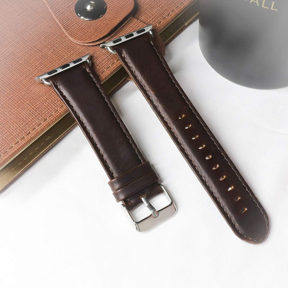 Swamerfa Compatible Apple Watch Band Leather Replacement Watch Bands Strap with Crazy Horse Texture for Men Women iwatch 38mm 40mm 42mm 44 mm, Coffee Brown,Black (Coffee, 42mm/44mm)