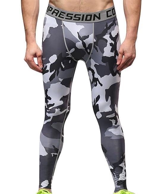 ZhuiKun Hombres Compresión Leggings Camuflaje Polainas Apretadas Larga Deportes Pantalones