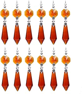 H&D Chandelier Crystals Replacement Crystal Parts Chandelier Icicle Prisms, 38, (Pack of 20)-Brown
