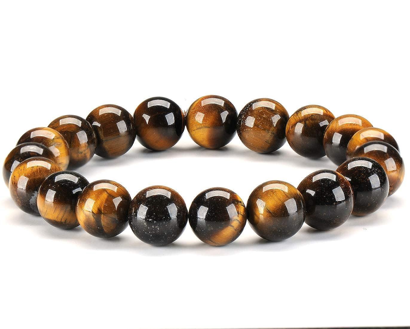 Senlinmu Bracelet en Pierre Naturelle Oeil de Tigre 10mm Fait Main Gemstone Yoga Perl/é Gu/érison /Énergie Bracelet pour Hommes et Femmes