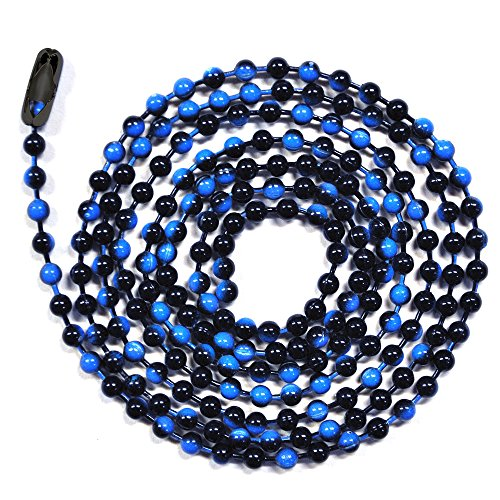 3 Foot Length Ball Chains, #6 Size, Blue Denim Enamel Color Mix, with Connectors (3 Pack) (Denim Mix)