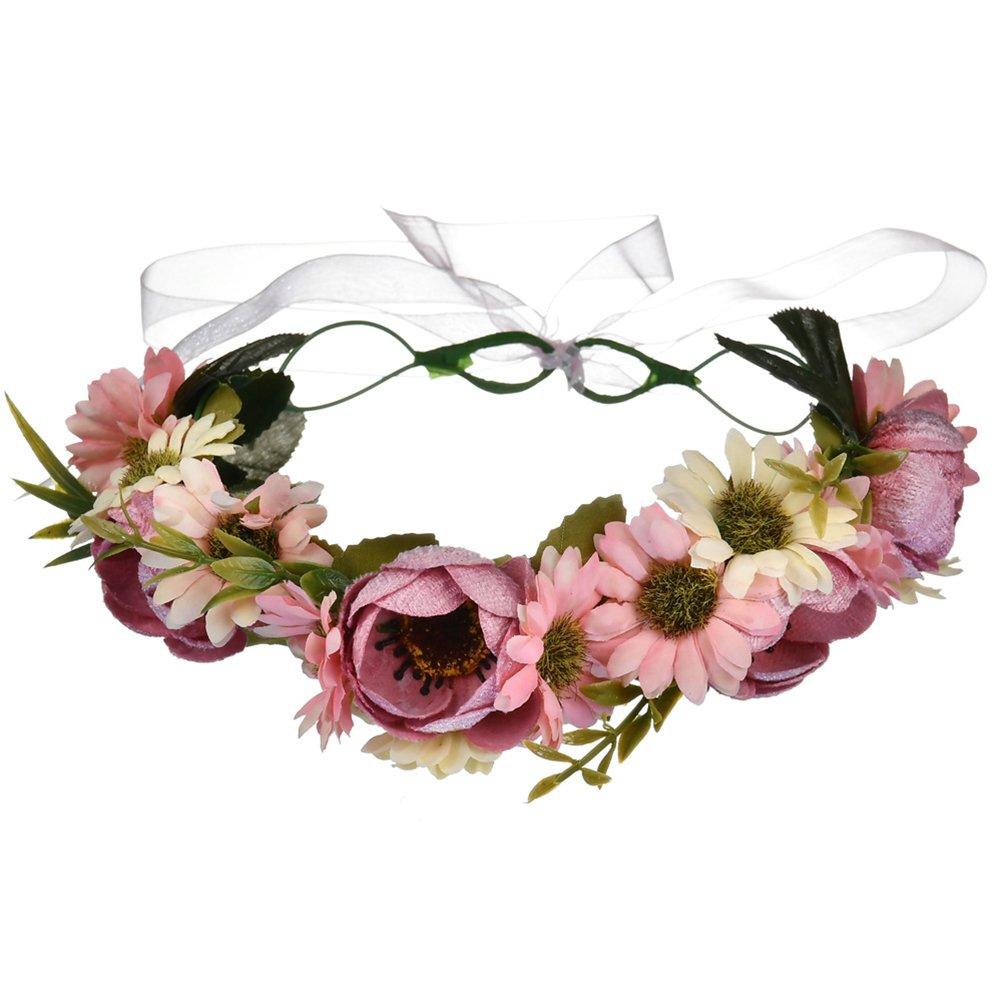 vivivalueクリスマスボーホーハンドメイドフラワーヘッドバンドヘア花輪Halo Floral Garlandクラウンヘッドピースwithリボンウェディングパーティー祭 B079BZMCPN 1 1