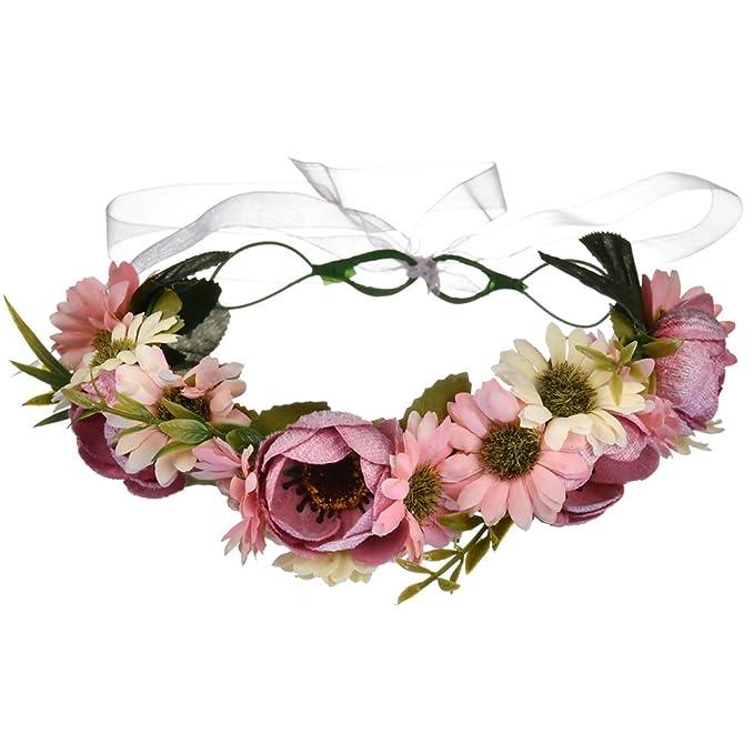 Vivivalue Floral Garland Crown Boho Flower Headband Hair Wreath Floral  Headpiece Halo with Ribbon Wedding Party e7e58942e78