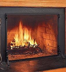 Solid Steel Flat Guard Fire Screen, 39''W x 31''H from Plow & Hearth®