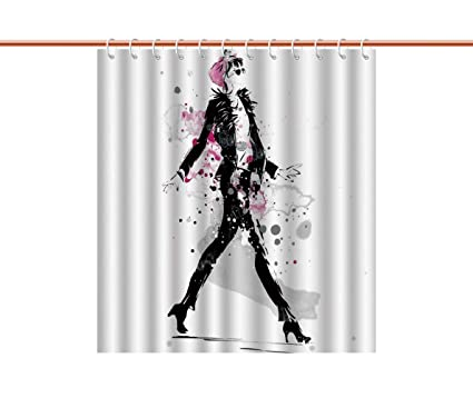 Durable Shower Curtain FashionGlamorous Stylish Sexy Woman Model On Catwalk Runway In Vintage