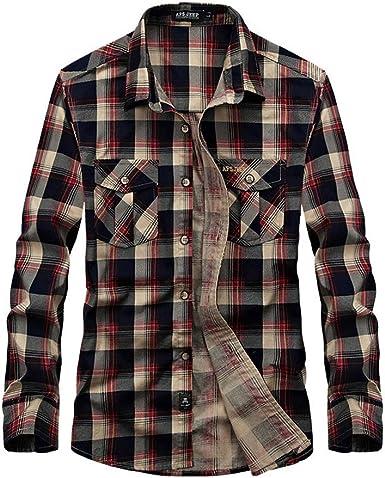 Camisas a Cuadros para Hombres Camisa Holgada de Manga Larga ...