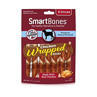 SmartBones Chicken-Wrapped Sticks For Dogs, Rawhide-Free, Regular |8 Count (SBCW-02956)