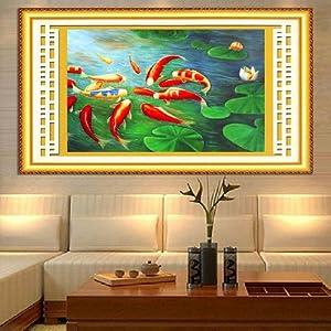 kx 精準印花十字秀九魚圖荷花鯉魚最新款十字繡客廳大幅系列shizixiu