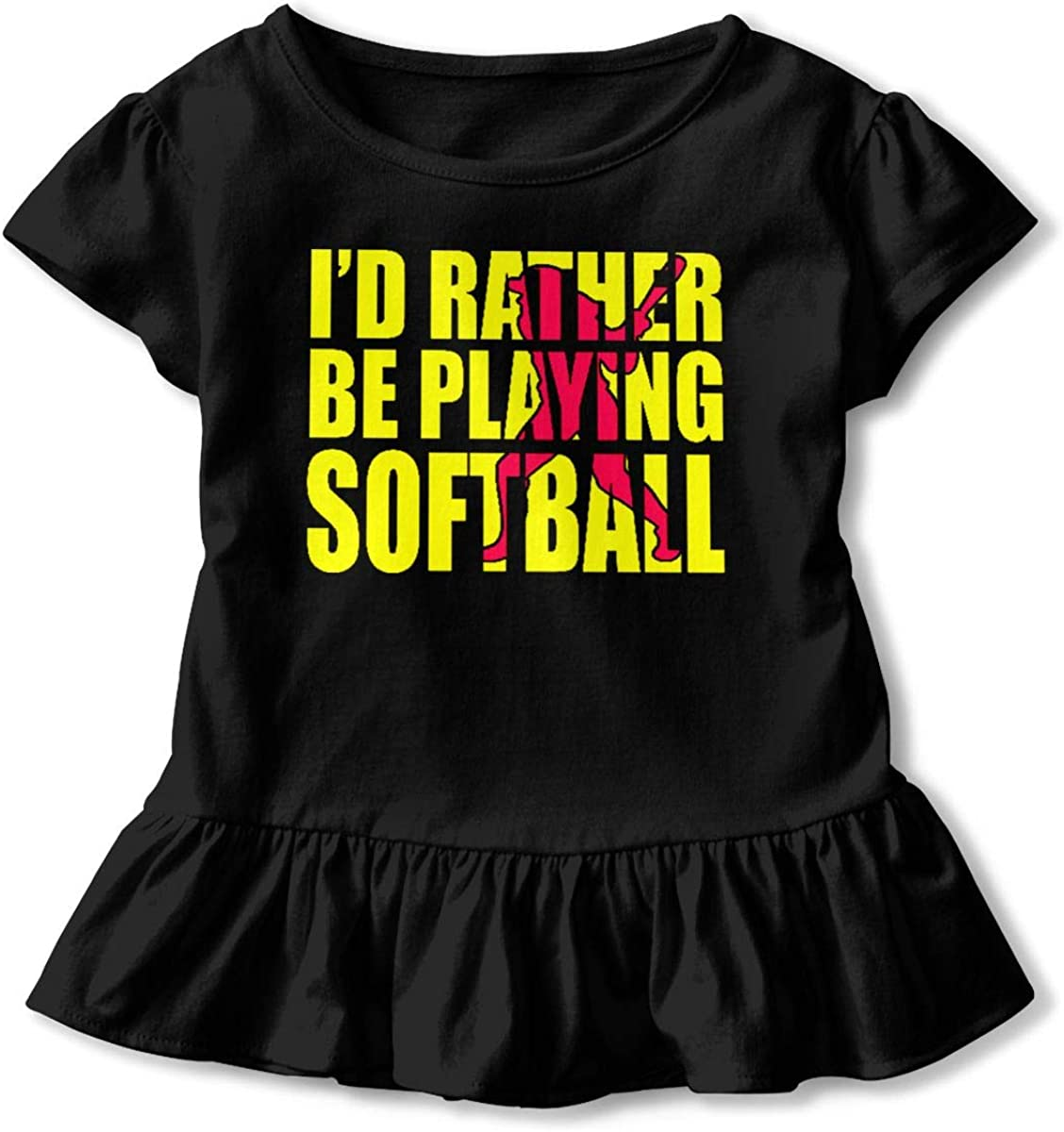 Not Available Id Rather Be Playing Softball Shirt Baby Girls Ruffles Graphic Tees for 2-6 Years Old Baby