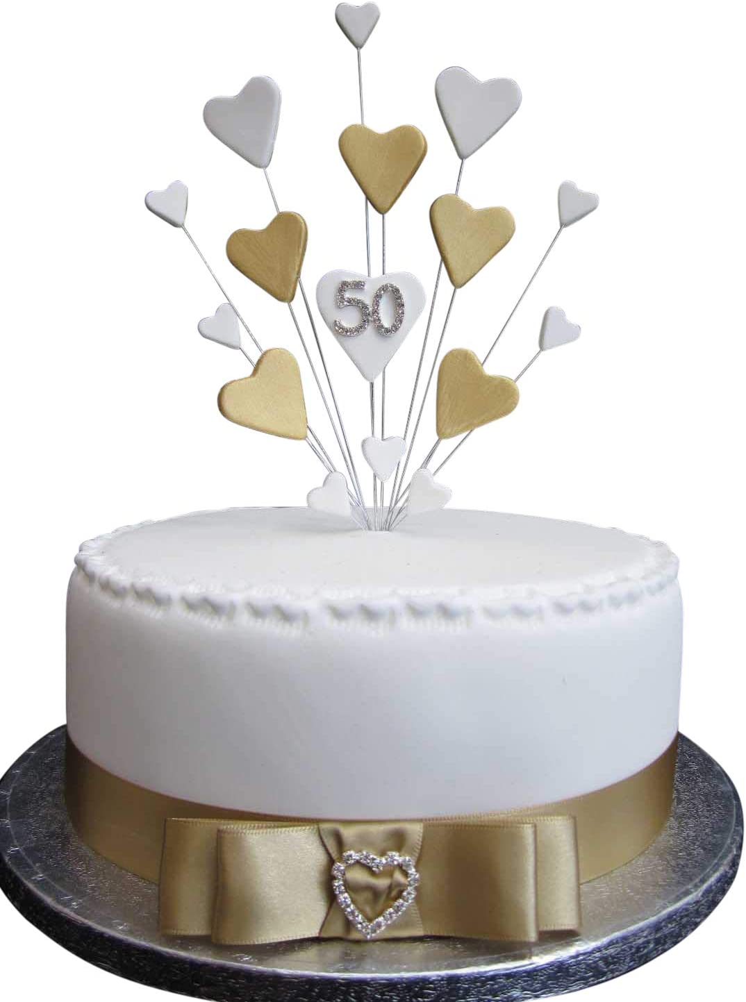 50th Golden Wedding Anniversary Birthday Cake Topper Ideal For A 20cm Cake Plus 1 X Metre 25mm Gold Coloured Satin Ribbon With Bow And Heart Diamante Buckle Amazon Co Uk Kitchen Home