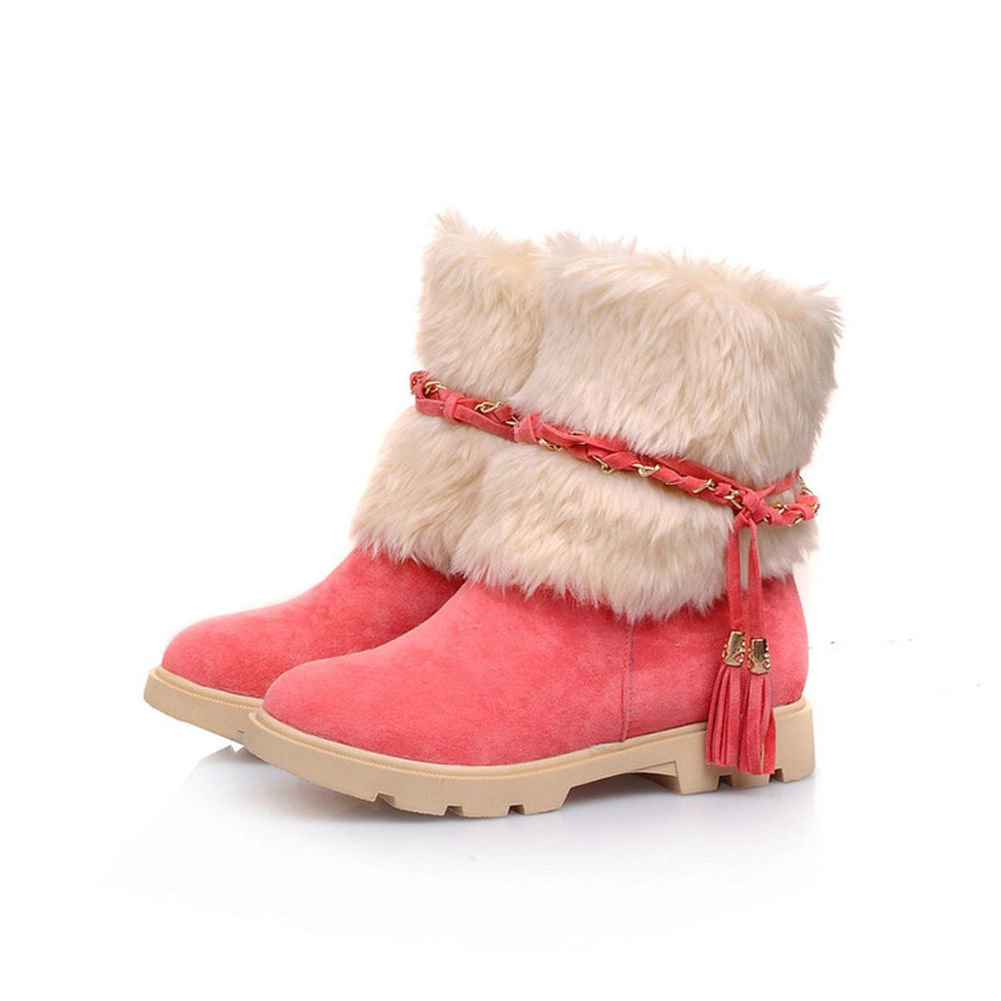 Mostrin Women's Water Resistant Short Boot Fashion Suede Flat Heel Winter Faux Fur Snow Boots