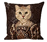 Authentic Jacquard Woven European Gobelin Tapestry Decorative Throw Pillow Covers / Pillow Cases / Cushion Covers Standard Size 18 X 18 inches Retro Vintage Cat Queen Isabella I of Spain