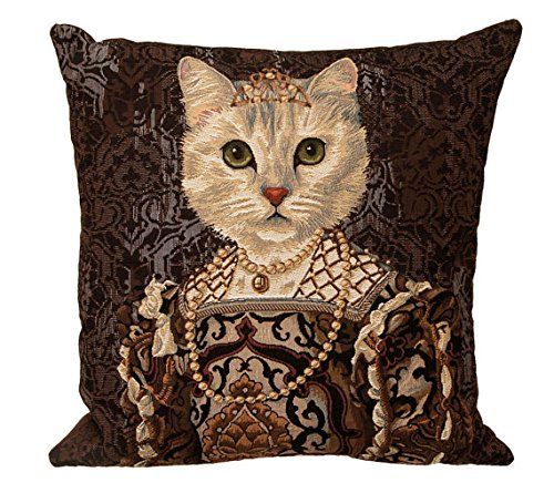 Authentic Jacquard Woven European Gobelin Tapestry Decorative Throw Pillow Covers / Pillow Cases / Cushion Covers Standard Size 18 X 18 inches Retro Vintage Cat Queen Isabella I of Spain by Luana Keale