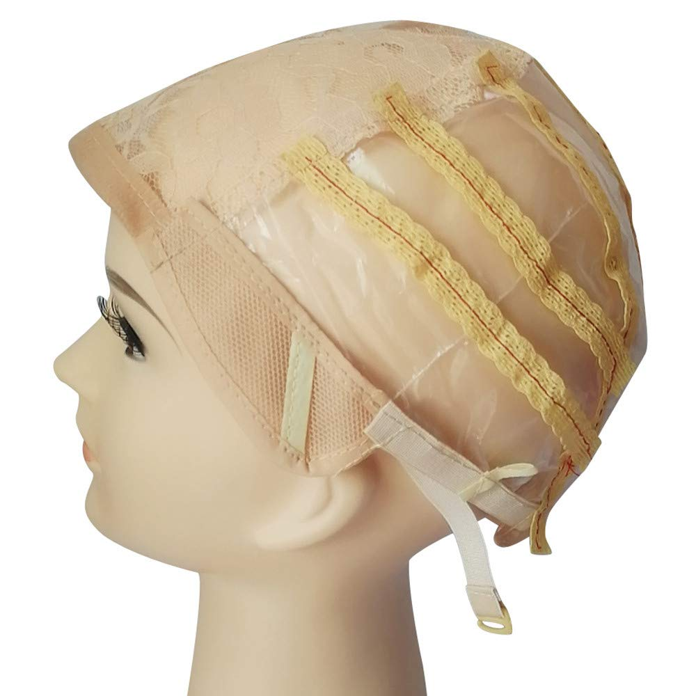 Women Wig Cheap, Wig Cap Making Elastic Breathable Lace Mesh Net Weaving Cap Adjustable Head Beige