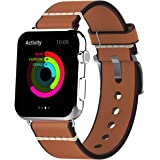 Mkeke Apple Watch Band, 42mm iWatch Band Strap Vintage Genuine Leather Replacement Wrist Bracelet with Metal Clasp Buckle for Apple Watch Series 1/Series 2 Sport Edition Brown