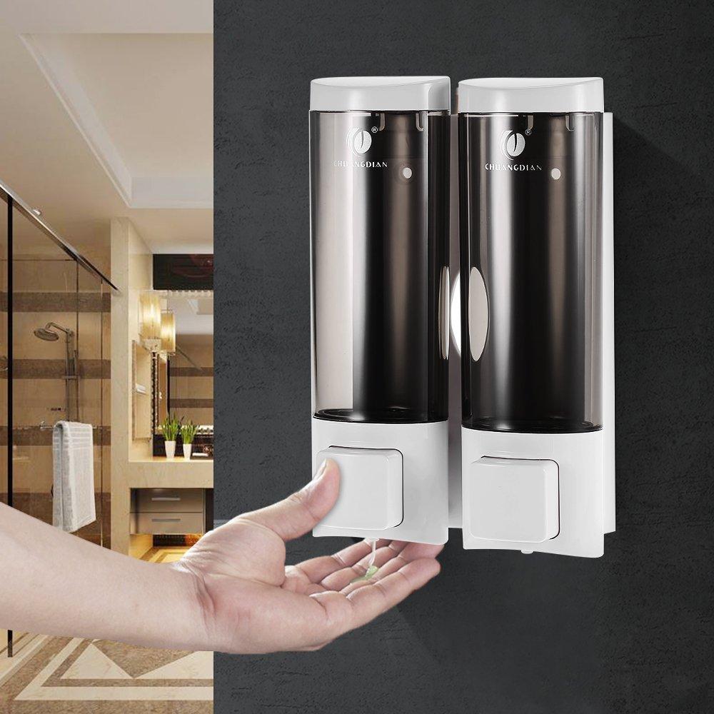 Anself 200mlx2 Distributeur de Savon Mural pour Salle de Bains Toilettes Hotel