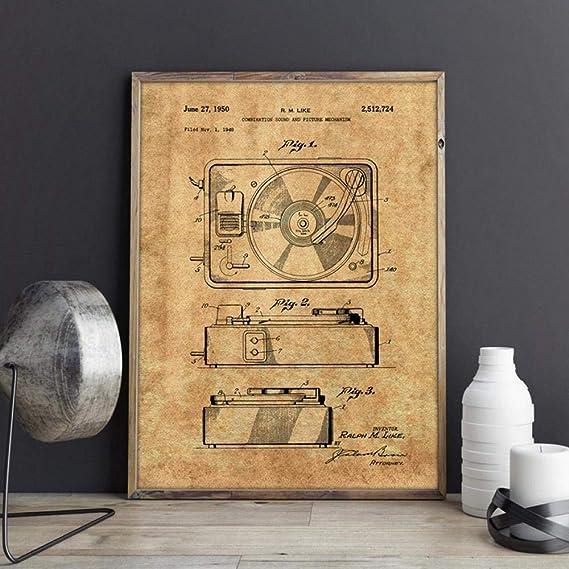 Tocadiscos patente de impresión de planos reproductor de discos de ...