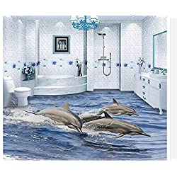 LWCX 3D Flooring 3D Wallpaper PVC Dolphin 3D Floor Decoration Painting Waterproof Wall Murals 3D Floor Painting Wallpaper 150x120CM