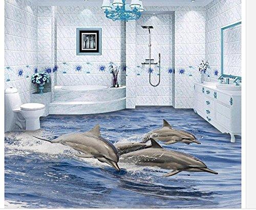 LWCX 3D Flooring 3D Wallpaper PVC Dolphin 3D Floor Decoration Painting Waterproof Wall Murals 3D Floor Painting Wallpaper 150x120CM
