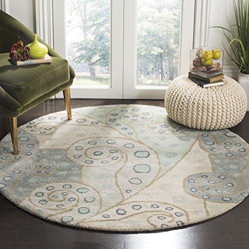 Safavieh Bella Collection BEL221A Handmade Sage and Multi Premium Wool Round Area Rug (5' Diameter)