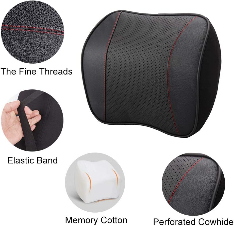 Car Pillow Headrest with Memory Foam Neck Supports for Car,Office,Home,Black awave bloom Double-Sided Design Leather/&Velvet Textile Neck Rest Seat Neck Pillow