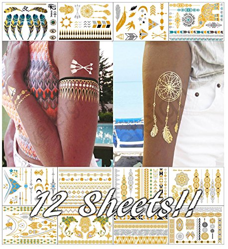 Metallic Temporary Tattoos for Women Teens Girls - 12 Sheets Gold Silver Temporary Tattoos Glitter Shimmer Designs Jewelry Tattoos - 150+ Color Flash Fake Waterproof Tattoo Stickers (Bequia) by Sovereign-Gear