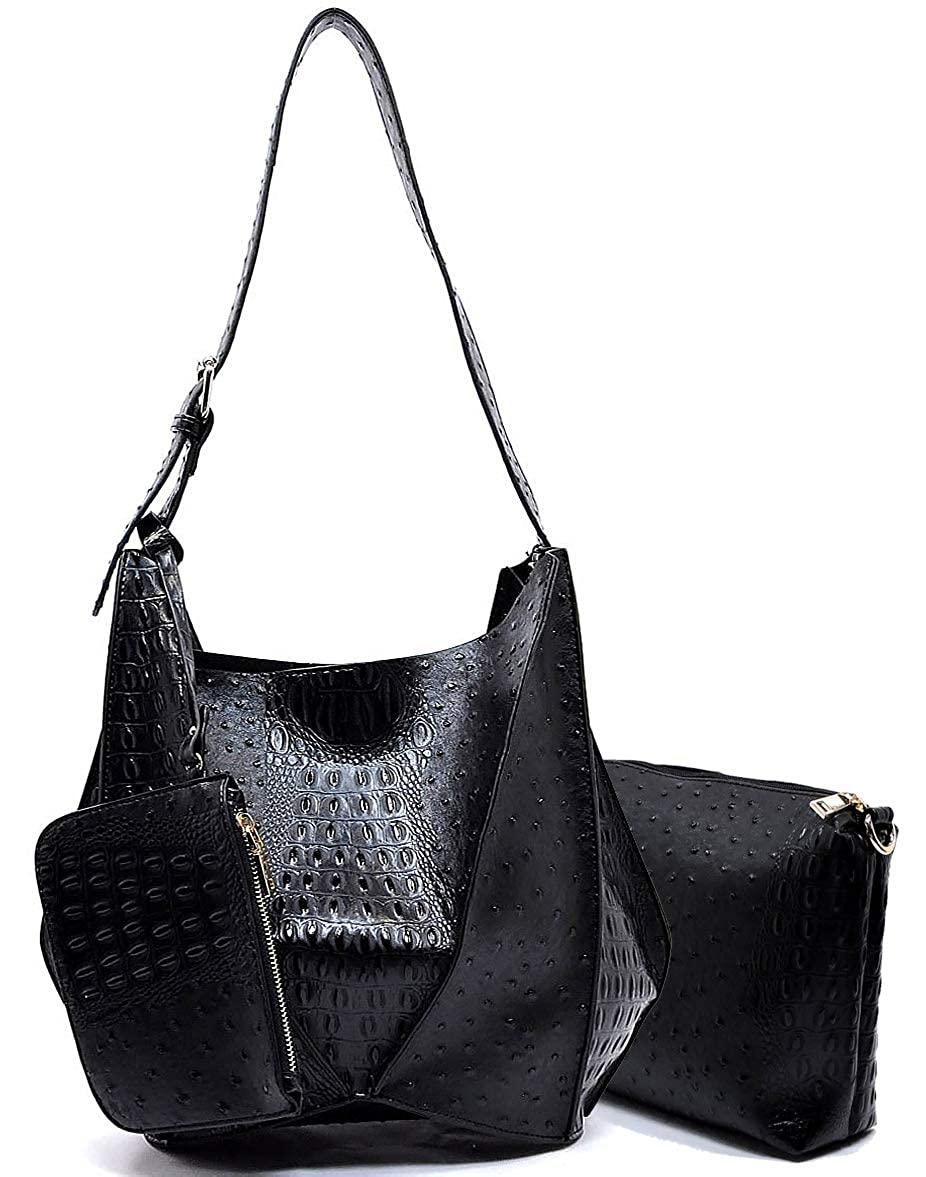 Black 3pc Le Miel Ostrich Embossed Long Strap Hobo w Pullout Crossbody + Coin Pouch