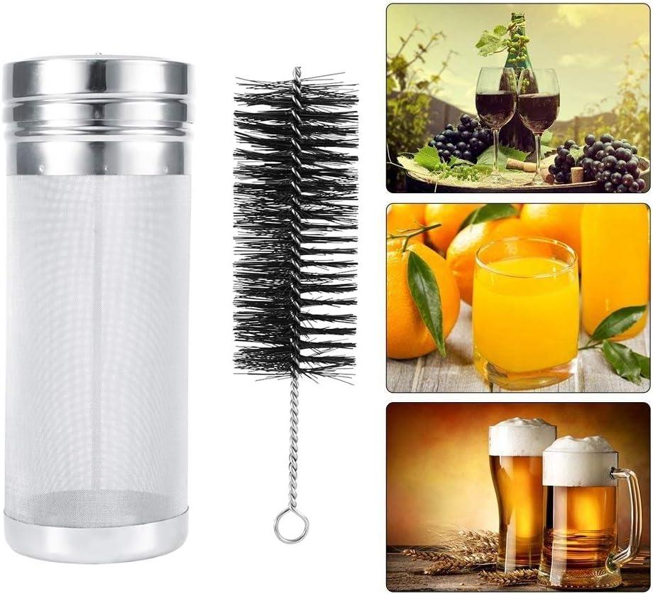 Cosiki Filtro de lúpulo Homebrew - Filtro de lúpulo de Cerveza de Acero Inoxidable con Kit de Cepillo de Limpieza de Malla de 300 micrómetros para barriles Homebrew(Los 7 * 18cm)