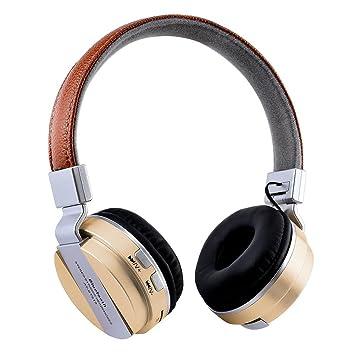 Auriculares inalámbricos Bluetooth para auriculares Soporte para radio FM Tarjeta TF (dorado)-Asiproper