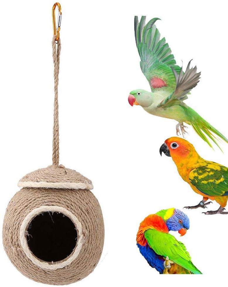Kawosh Nido de pájaro de Coco Nido para periquitos Loro periquitos pinzones Canarios hámsteres, Ratas Accesorios para jaulas de pájaros casa de pájaros
