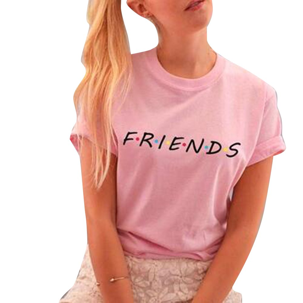 Bonboho Friends TV Show T-Shirts Womens Summer Casual Short Sleeve Tops Graphic Tees