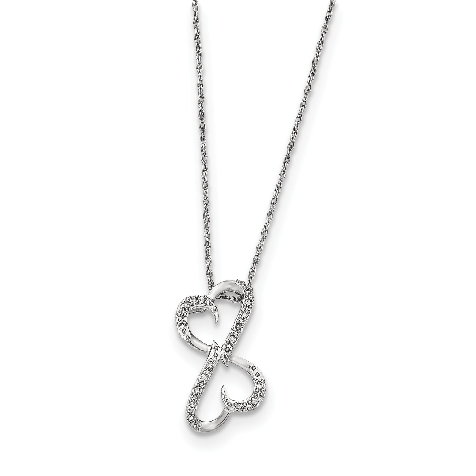 ICE CARATS 14k White Gold Diamond Heart Chain Necklace Fine Jewelry Gift Set For Women Heart