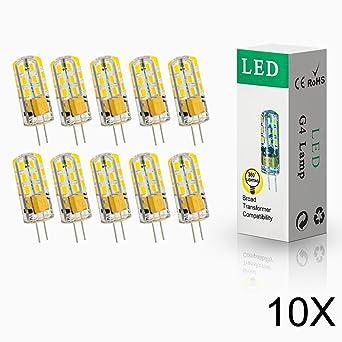ELINKUME 10x G4 4W LED 24* 2835 SMD Lámpara Bombilla 3000K Luz Blanco Cálido lámpara