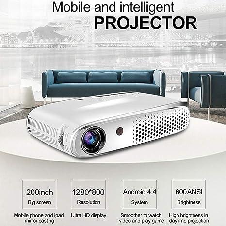 Mini Proyector 3D, 1280 * 800Pixel 4K WiFi 600 lúmenes ...